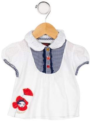 Catimini Girls' Gingham-Accented Knit Top