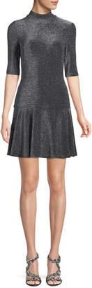 Black Halo Reeder Mini Dress in Metallic Knit