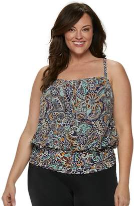 e0d7b948a94 Plus Size A Shore Fit Tummy Slimmer Mesh Blouson Tankini Top
