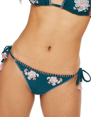 Topshop Floral Embroidered Tieside Bikini Bottoms