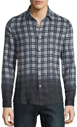 Michael Kors Men's Dip-Dyed Madras Plaid Linen Button-Down Shirt