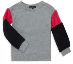 Derek Heart Girl's Faux-Fur Sleeve Sweatshirt
