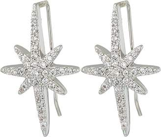 "Betsey Johnson Betsey Blue"" Pave Starburst Ear Climber Earrings"