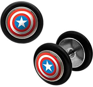 BODY ART Marvel Captain America Logo 316L Surgical Steel Faux Plugs