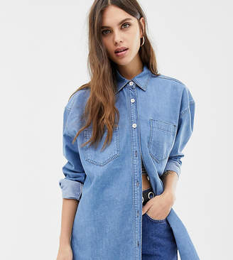 Reclaimed Vintage inspired oversized denim shirt in dark stone wash