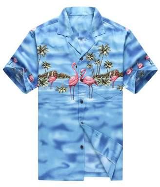 Flamingos Hawaii Hangover Made in Hawaii Men's Hawaiian Shirt Aloha Shirt Pink Blue