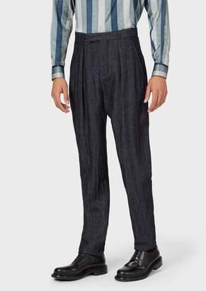 Giorgio Armani Trousers In Linen And Cashmere Denim-Effect Herringbone