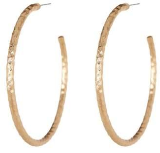 Rivka Friedman 18K Gold Clad 50mm Hammered Satin Post Hoop Earrings
