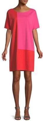 Joan Vass Short-Sleeve Colorblock Dress, Petite