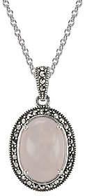 Suspicion Sterling Rose Quartz & Marcasite Pendant w/ Chain