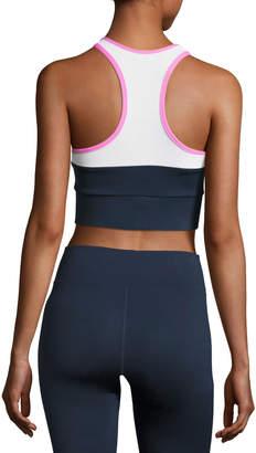 Neiman Marcus Heroine Sport Tread Colorblock Sports Bra, Blue/Pink