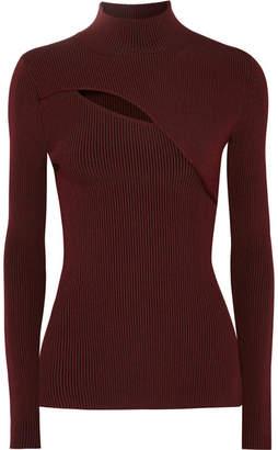 Thierry Mugler Cutout Ribbed Stretch-knit Turtleneck Sweater - Burgundy