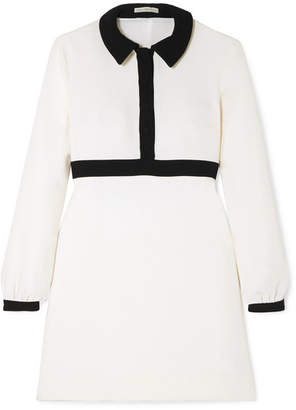 Emilia Wickstead Tobias Two-tone Wool-crepe Mini Dress - Cream
