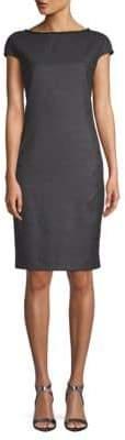 Akris Plaid Wool & Silk Shift Dress
