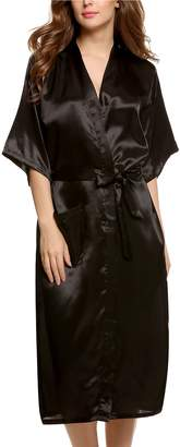 Avidlove Women's Robes Long Classic Satin Lounge Wedding Kimono Nightwear