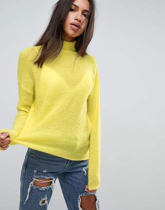 Asos Jumper With High Neck In Mohair Blend