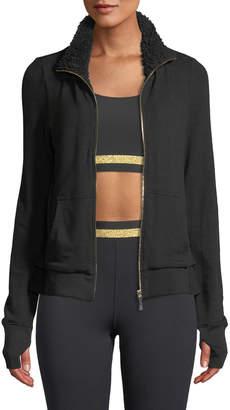 Kate Spade sherpa ruffle zip-front jacket