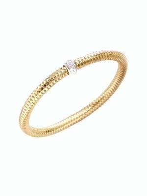 Roberto Coin Primavera Diamond& 18K Yellow Gold Woven Bracelet