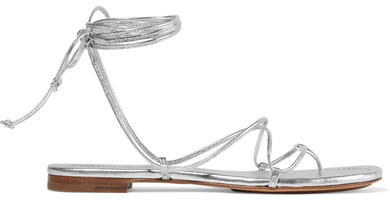 Michael Kors Collection - Bradshaw Metallic Leather Sandals - Silver