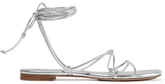 Michael Kors Collection - Bradshaw Metallic Leather Sandals - Silver $295 thestylecure.com