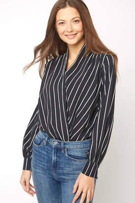 Astr Black and White Stripe Surplice Bodysuit
