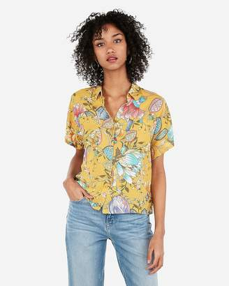 Express Floral Boxy Button-Up Shirt