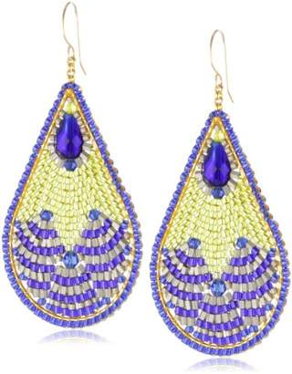 Miguel Ases Blue Created Quartz and Lime Green Teardrop Earrings
