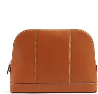 CONNOLLY Topstitch-detail large leather washbag
