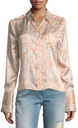 Equipment Huntley Crocodile-Print One-Pocket Silk Satin Shirt