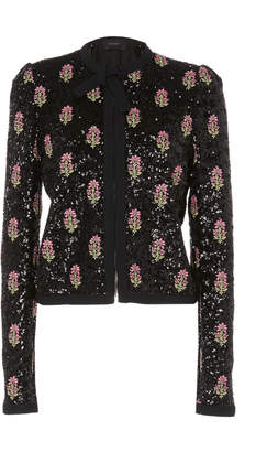 Giambattista Valli Sequin-Embroidered Collarless Jacket