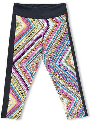 Girl Power Sport Zigzag Print Active Capri Leggings, Size XS-XL