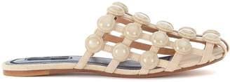 Alexander Wang Amelia Beige Suede Braided Mules With Studs
