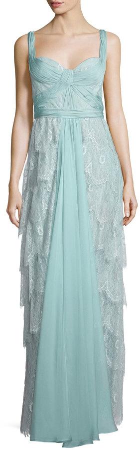 Mignon Sleeveless Sweetheart-Neck Layered Lace Dress, Old Seamist