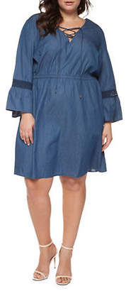 Dex Plus Lantern-Sleeve Denim Dress