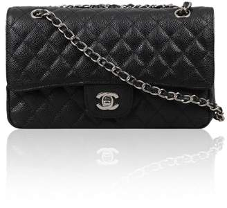 Look At My Bags Classic Flap Caviar Leather Silver Hardware Crossbody Shoulder Bag for Women Quilted Purse Perfect to Hold Cash, Cards, Checkbook, Keys, Make up, Phone etc