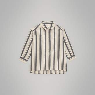 Burberry Striped Cotton Wool Shirt , Size: 14Y, Grey