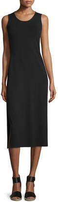 Eileen Fisher Jersey Midi Dress, Black, Petite