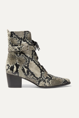 Tabitha Simmons Porter Buckled Snake-effect Leather Ankle Boots - Snake print