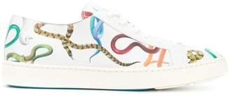 Santoni snake print sneakers