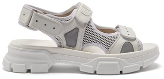Gucci Aguru Leather And Mesh Sandals - Mens - White