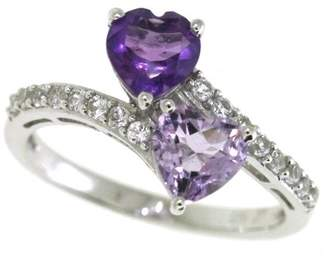 Sterling Silver Heart Shape Amethyst and Rose de France and Lab Created White Sapphire Ring