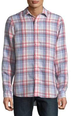 Michael Kors Plaid Classic-Fit Linen Button-Down Shirt