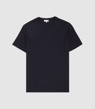 Reiss Fords - Textured Striped T-shirt in Navy
