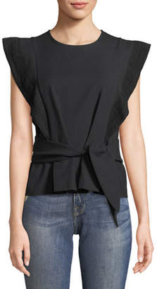 BA&SH Teal Belted Stretch-Cotton Top