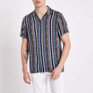 River Island Blue aztec print short sleeve revere shirt