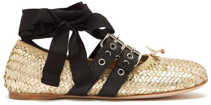 MIU MIU Buckle-fastening woven-leather ballet flats