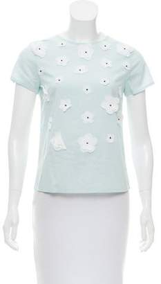agnès b. Floral Appliqué Short Sleeve Top