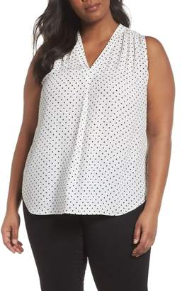Vince Camuto Poetic Dots Sleeveless V-Neck Blouse