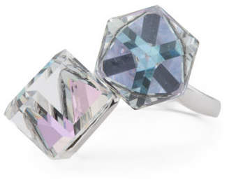 Sterling Silver Swarovski Crystal Large Cube Ring