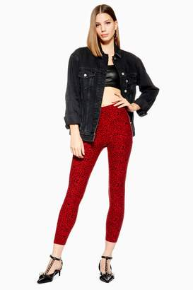 Topshop Womens Petite Leopard Print Leggings - Red